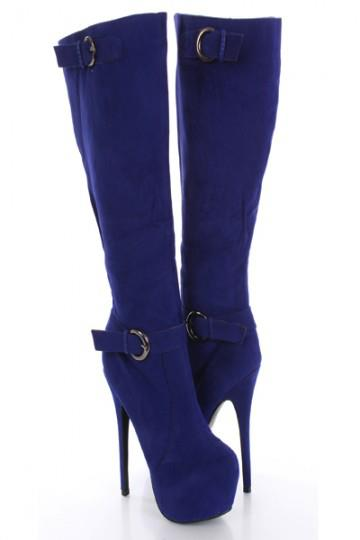 Blue High Heel Boots